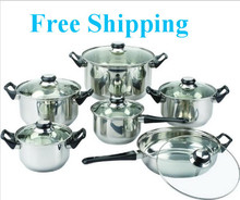 FREE SHIPPING 12 Pieces of Stainless Steel Cookware Set Soup Pot Milk Pot Fry Pan Combination Set Induction Apply