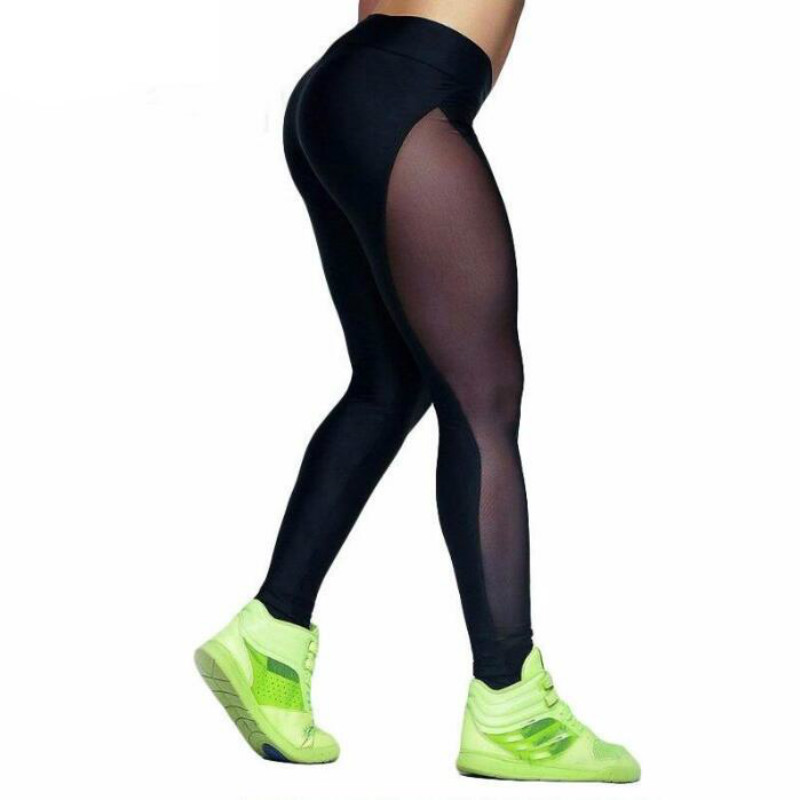 New Mesh Fitness Leggings Women Sexy Patchwork High Waist Skinny Leggings Black Breathable Pants Women Workout Pants