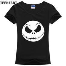 TEEHEART Cool The Nightmare Before Christmas Women cotton T shirt Shirt Top Tee Black skull Brand Plus Size Tees w046(China)