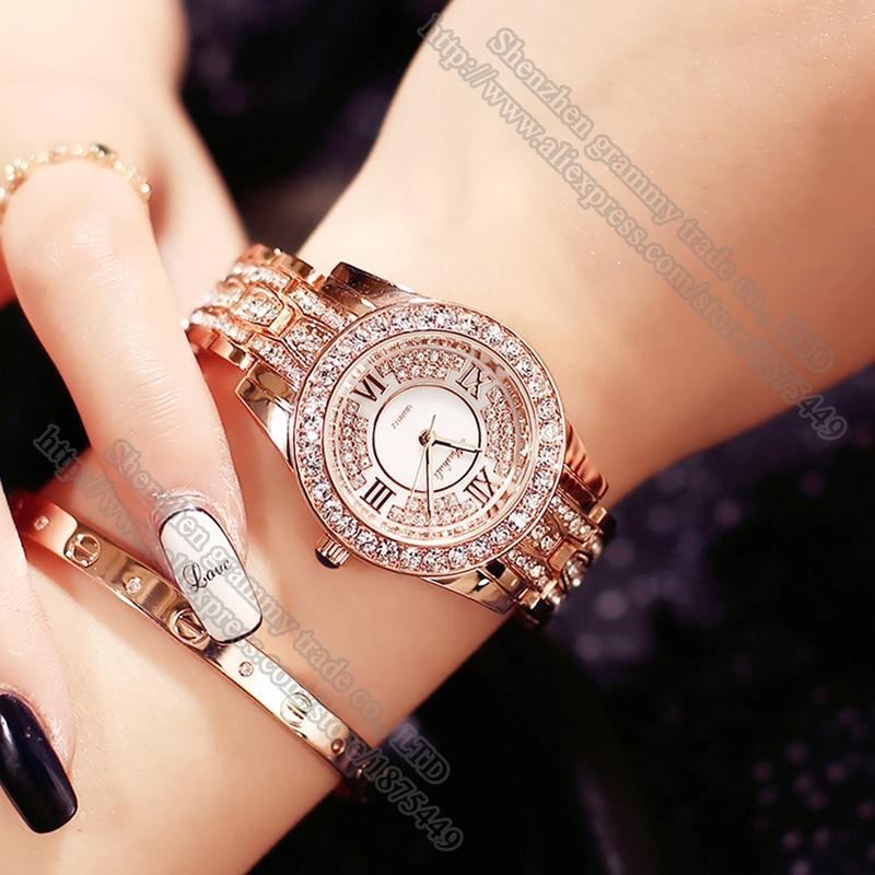Female Quartz-watch Rhinestone stainless steel bracelet Ladies Watch Full Diamond Roman numerals Watches Women Gift Accessories<br><br>Aliexpress