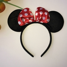 Black Mouse Ear Headband Cute Kids Dot Hair Bows Mickey Minnie Headbands Cloth Festival Party Hair Accessories 4Cls Hairband
