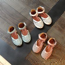 2017 Summer Girls Sandals Korean Cut-outs Princess Baby Toddler Girl Sandals Kids Casual Flat Shoes For Girl high quality sandle