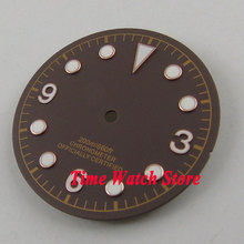 30.4mm coffee sterial dial luminous rose golden marks Watch Dial fit 2824 2836 Automatic Movement D51