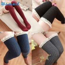 Womail Dancing Poppy Sexy Lace Over Knee Leg Warme Soft Knitting Crochet Sock