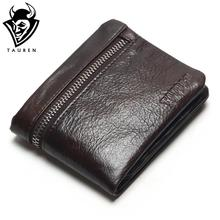 TAUREN Genuine Leather Mens Wallets Brand Logo Zipper Design Short Men Purse Male Clutch With Card Holder Coins Purses Wallet