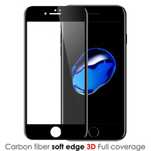 Carbon Fiber 3D Curved Soft Edge Full Screen Protector Tempered Glass Film For iPhone 7 7 Plus 360 Protection Cover For I6 6Plus