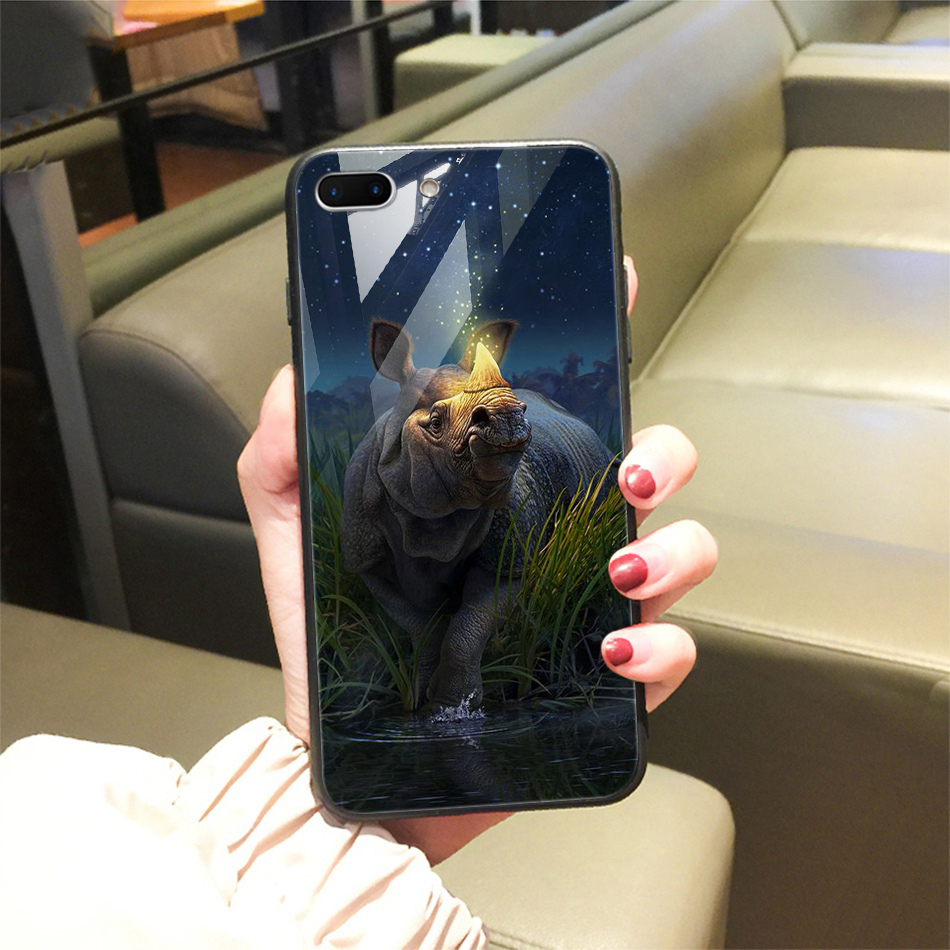 TOMKAS Animal Glass Case For iPhone X 8 7 10 6 Cover Phone Cases For iPhone X 7 8 6 6s Plus Case Luxury Cute TPU PC Covers Coque (25)