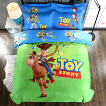 Disney Toy Story 3D Printed Bedding Comforter Set Duvet Covers Sheets Children's Boys Bedroom Cotton 600TC Soft Woven Green Blue(China)