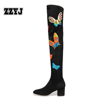 ZZYJ large size womens sheepskin knight boots fashion printing motorcycle boots riding boots autumn winter female shoes C8032