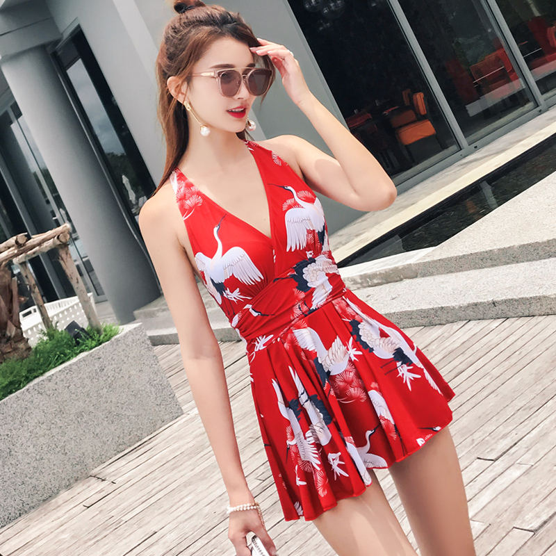 New 17 Women Swimsuit Solid Push Up Skirted Bathing Suit Padded One Piece Strappy Ruched Beach Dress Sexy Ladies Swimwear 10