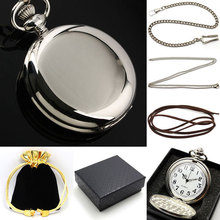 Black Smooth Bronze Steampunk Pocket Watch for Men with pocket chain necklace chain with leather strap wish gift bag gift box