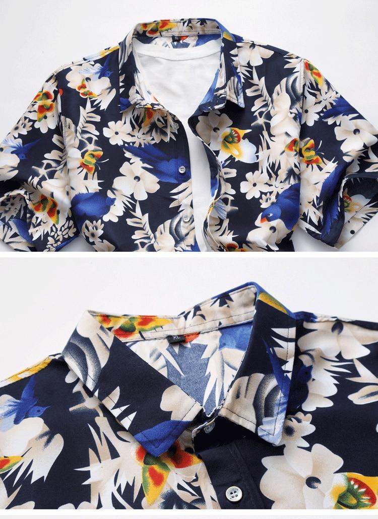 2018 Short Sleeve Mens Hawaiian Shirt Male Casual Camisa Masculina Flower Print Beach Summer Shirts Brand Clothing Men Plue Size 18