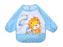 Hot Animal Printed Baby Girls Boys Eating Bibs Clothes Waterproof Long Sleeve Feeding Bibs Apron