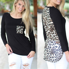 Sexy Women Chiffon Leopard Patchwork Shirts Casual Loose Long Sleeve Blouses Round Neck Casual Tops 2016 Hot Sale(China)