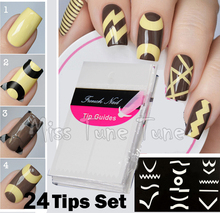 MISS TUNE TUNE 24 Sheets/Set French Manicure Nail Art Tips Guides Stickers Stencil Strip Chevron Zig Zag Line Different Design(China)