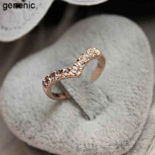 New Fashion Popular Cute Hot Sexy Women's Unique Design Of The V-shaped Section Style Rhinestone Pinkie Ring Gift(China)
