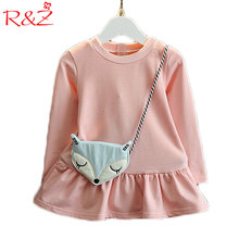 R&Z 2017 Autumn New Girls Dress + Bag 2 Pieces Cartoon Fox Head Messenger Bag Long Sleeve Pink Sky Blue Kids Clothes
