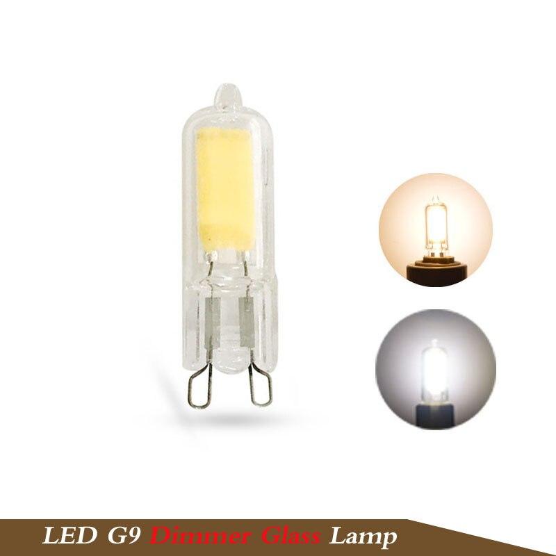 1x mini g9 led bulb dimming led g9 220v 5w cob smd glass body light warm