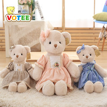 45CM One Piece Lovely Teddy Plush Toy Bear With Dress Soft PP Cotton Bears Doll Birthday Valentine's Day Presents 5 Colors