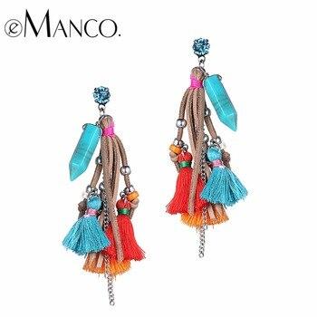 EManco Bohême Velours Fringe Pendentifs Multi Couleur Gland de Baisse Balancent Boucles D'oreilles pour les Femmes Chaude de Marque De Mode Bijoux 2016