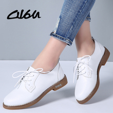 O16U Women Flats Shoes Oxfords Genuine Leather Lace up Moccains Casual Shoes Women Derby Flat Shoes Ladies White Black Spring(China)