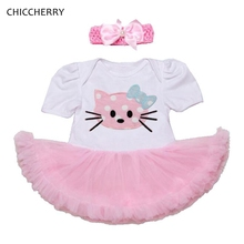 Cute Hello Kitty Applique Toddler Girl Clothes Classic Baby Lace Romper Dress Headband Set Tutu Birthday Outfits Infant-clothing