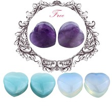 6pcs Heart Stone Plugs and Tunnels Ear Plugs Tunnels Earring Gauges Ear Plugs Tunnels Gauge Ear Rings Sex Body Piercing Jewelry