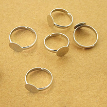 50pcs 10mm Pad Diy Silver -Plated Ring Base Anillo Adjustable Ring Blanks Glue On Cabochon Rings Findings Material For Handmade