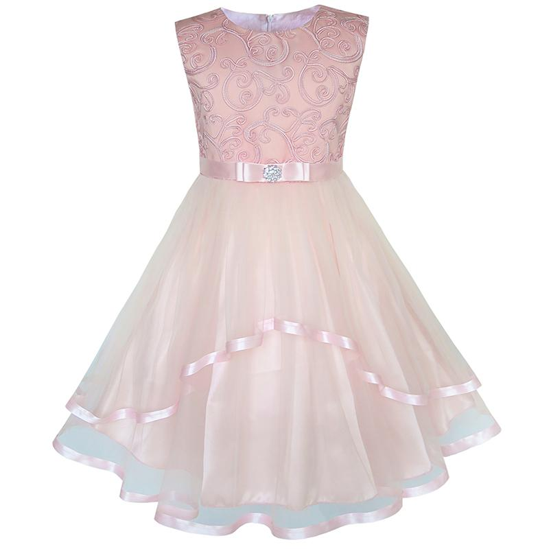 Sunny Fashion Flower Girls Dress Blush Belted Wedding Party Bridesmaid 18 Summer Princess Dresses Kids Clothes Size 4-12 1
