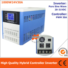 Hybrid controller inverter for off grid solar power system, 1000W 24V pure sine wave inverter integrated with 30A PWM controller