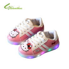 2017 New Child Casual Shoes with Light Spring Autumn Baby Boys Girls LED light Shoes Kids Fashion Hello Kitty Girls Sneakers