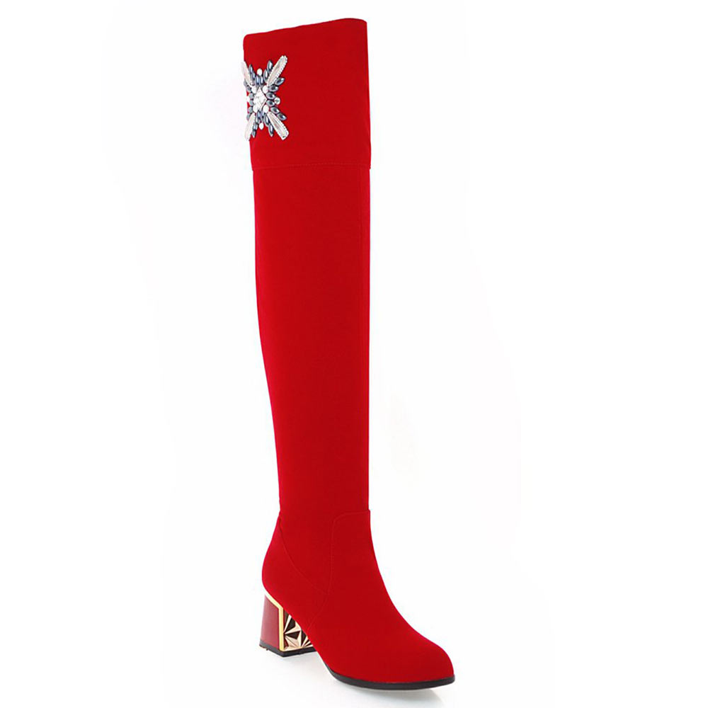 Lasyarrow Thigh High Long Boots Female Wedding Shoes Black Red Rhinestone  Ladies Footwear Autumn Winter Over the Knee Boot Woman 4dd437924be5