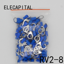 RV2-8 Blue Ring insulated terminal Cable Wire Connector 100PCS/Pack suit 1.5-2.5mm cable Electrical Crimp Terminal RV2.5-8 RV(China)