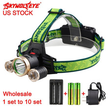 SKYWOLFEYE 10000 LM T6 3 LED Rechargeable Headlamp Camping Lighting+18650 Battery+ Battery Charger+AC Charger (US Plug)(China)