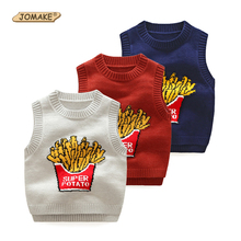 Baby Sweater Spring&Autumn Funny Fries Pattern Children Knitted Waistcoat New Brand Costume For Kids Clothes Girls Boys Clothing(China)