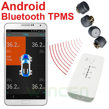 Android Bluetooth Wireless Tire Pressure Monitoring System TPMS External Support High Low Pressure Temperature Alarm