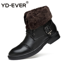 YD-EVER 100% genuine leather men snow boots Warm Waterproof winter Lovers Shoes wool fur boots Motorcycle boots plus size 8850(China)