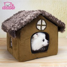 Cute small pet dog cat bed tent house Kennels for small dog winter warm fleece dog puppy Chihuahua Bed indoor House nest cushion