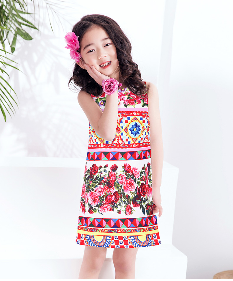 Vestido Princesa Girls Dress Summer 2017 Brand Kids Dresses for Girls Clothes Rose Flower Princess Dress Costumes<br>