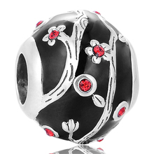 Pandulaso Chinese Style Plum Blossom With Black Enamel Beads Fits Europe bracelet silver 925 original jewelry for Woman DIY(China)