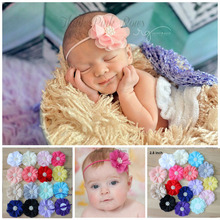 "2.8""  Beaded Chiffon Flower Headbands Newborn Headband 16 colors For  Headbands Hair Accesssories"