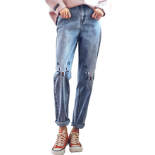 HSTYLE Casual Loose Embroidered Jeans for Women Fitting Women Pencil Pants Streetwear High Waist Jeans Female(China)