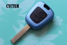 Buy CYCTEM Car Key Blank Cover Housing 2 Buttons Flip Remote Key Shell Fob Case Replacement Peugeot 407 Balde Groove for $4.48 in AliExpress store