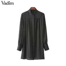 Vadim women cute polka dots long shirts long sleeve stand collar pleated blouses vintage ladies fashion tops blusas LT2406(China)