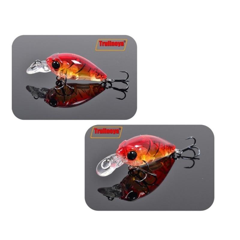 Trulinoya Fishing Lure DW24 35mm 3.5g 1.2m Mini Crank Fishing Lures Hard Bait Lure with Hooks Red/Green/Blue/Black 14