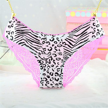 Buy 1 pcs Charming Women Lace Briefs Lady Love Sexy Pink Heart Panties Women's Low Waist Intimates Leopard cotton Underwear sexy