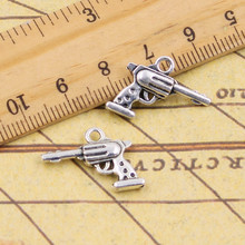 10pcs Charms gun pistol 16*20mm Tibetan Silver Plated Pendants Antique Jewelry Making DIY Handmade Craft(China)