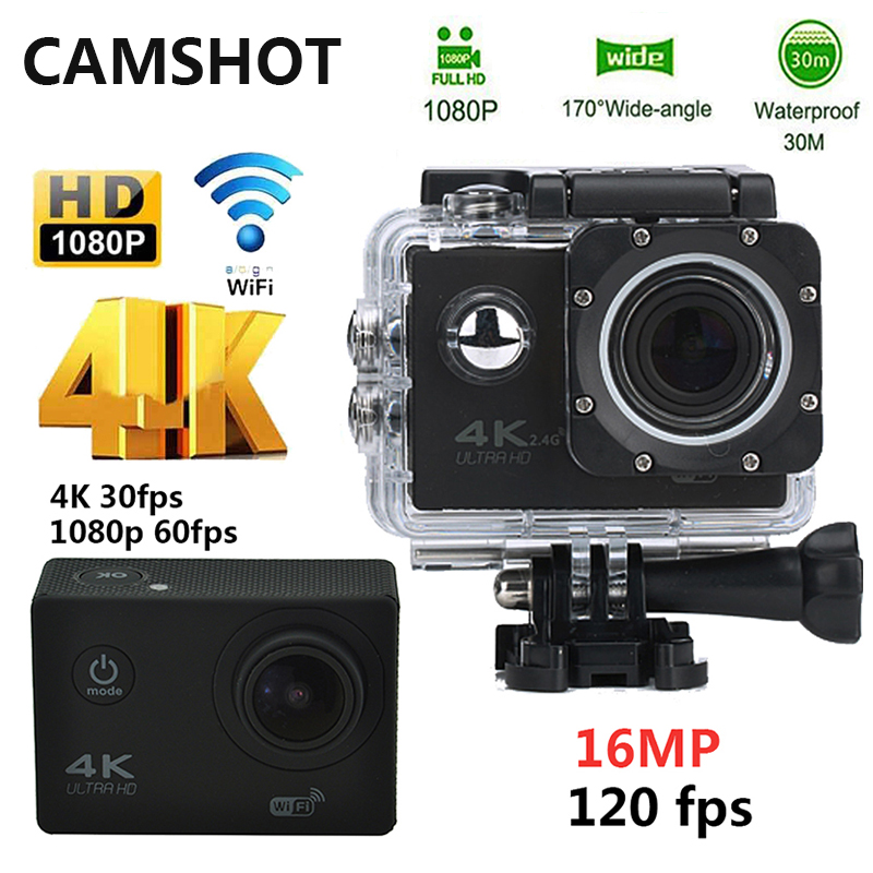 CAMSHOT Waterproof Action Camera 16MP 4K WIFI Ultra hd Diving 1080P 60PFS 2 Inch DV Helmet bicycle Cam underwater Sports Camera<br>