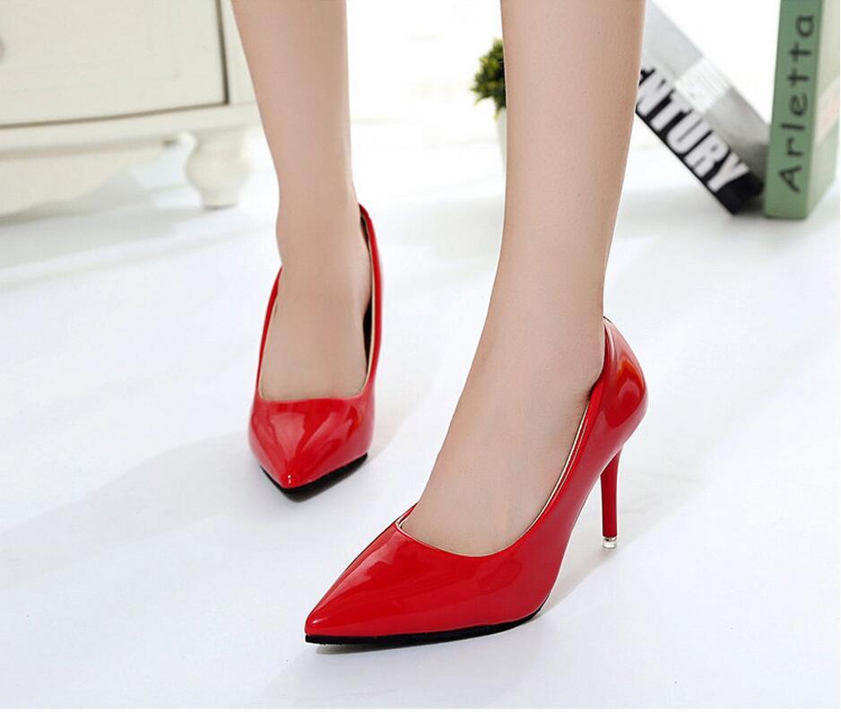 2018 Femmes Chaussures Bout Pointu Pompes En Cuir Verni Chaussures Habillées Talons hauts 36