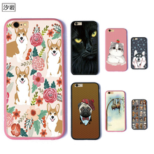 TPU+PC phone case dog cat black corgi husky shorthair for iPhone 6 7 plus 5 5s se for apple cute pink cheap cell phone covers(China)